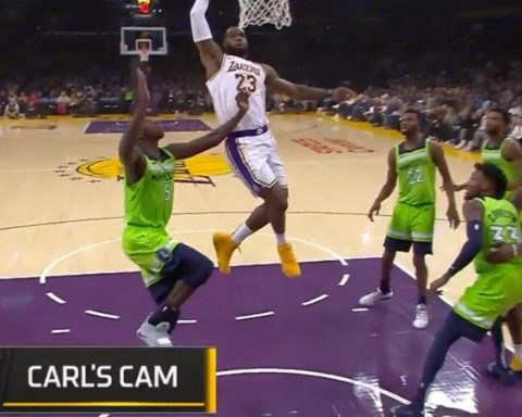 attacks the rim for the ...