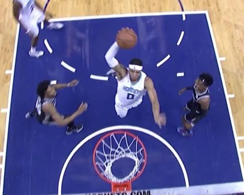 spins into the lane for the  SLAM!...