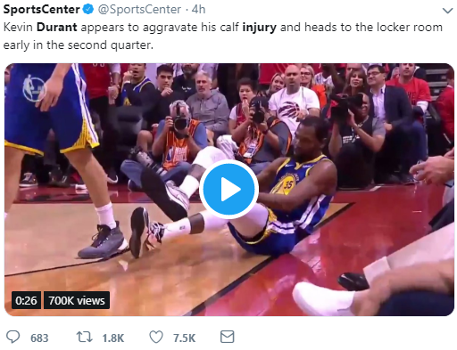 Kevin Durant Sports Center Injury Tweet NBA Finals 2019