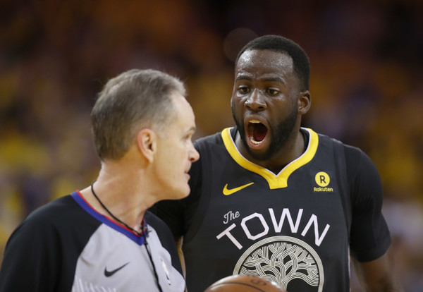 Mike Callahan NBA Referee with Draymond Green