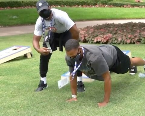 """That's Game!"" - competition is underway in Orlando as   &  play cornhole for pu..."