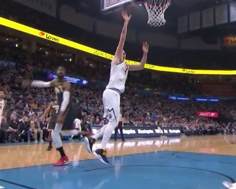 Nikola Jokic in the paint on ESPN! ...