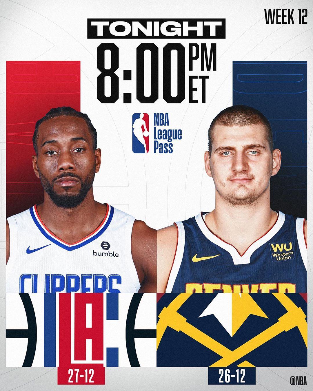 The KLAW & the  (27-12) visit the JOKER &  (26-12) TONIGHT on NBA LEAGUE PASS!...