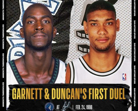 Tonight's  game will feature Kevin Garnett (25p/11r) & Tim Duncan's first big-ti...