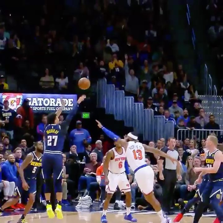 Will Barton keeps it alive (off Jokic's back) and finds  for the clutch  bucket!...