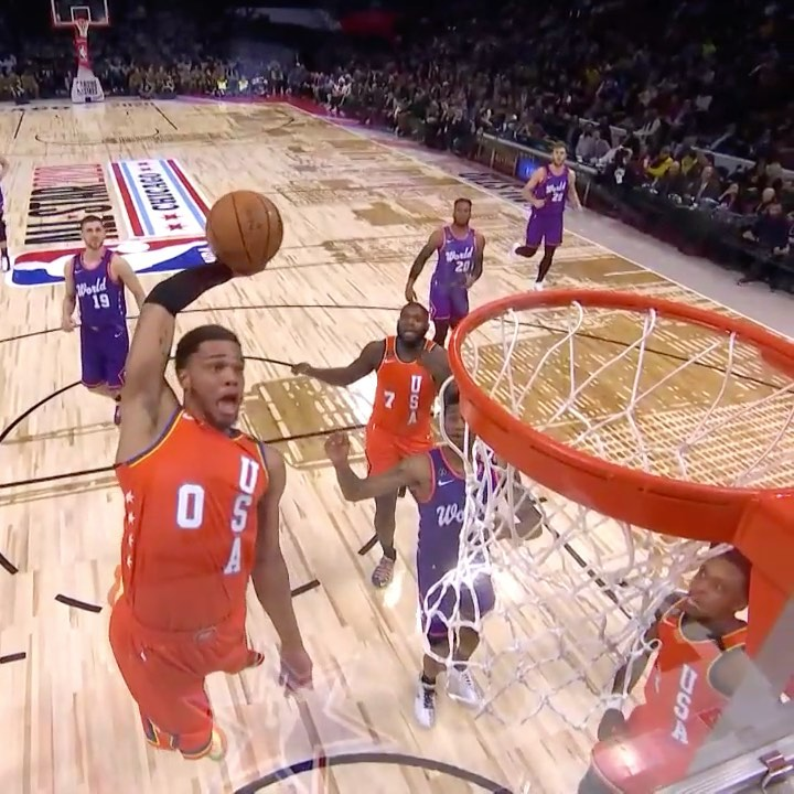 catches the CRAZY OOP off the glass for the U.S. Team on TNT! ...