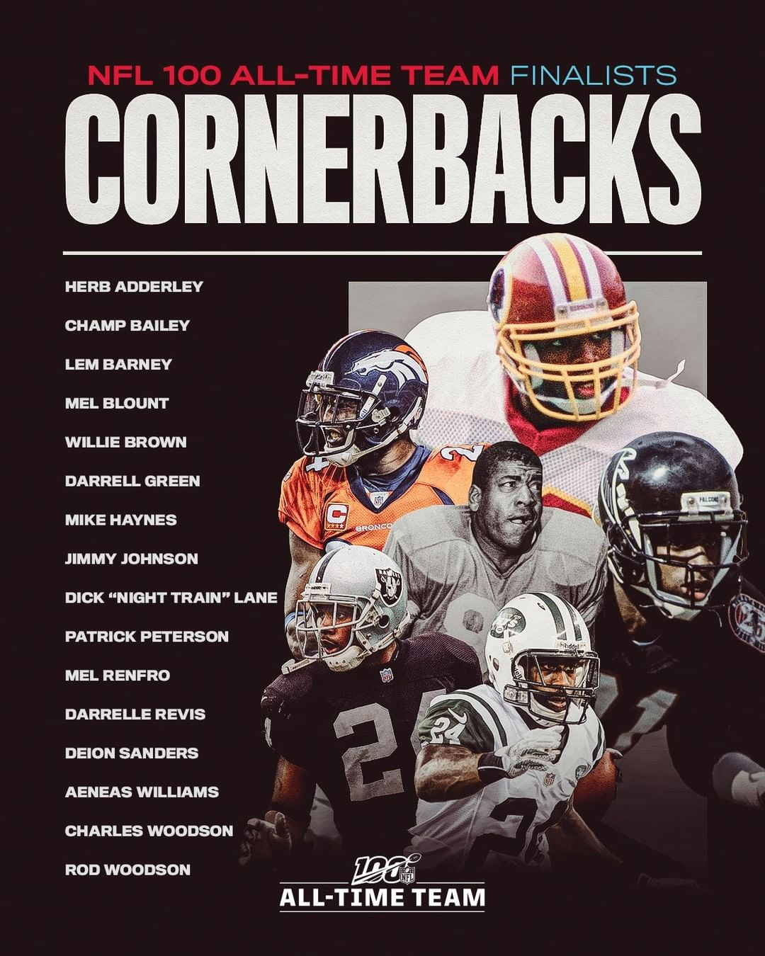 16 cornerbacks, 14 safeties and 12 specialists are finalists for the  All-Time T...