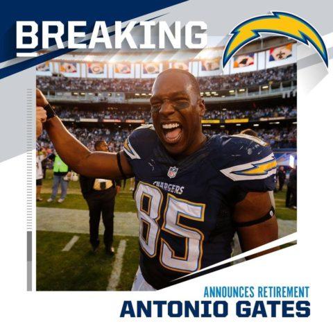 8x Pro Bowler Antonio Gates announces retirement after legendary 16-season caree...