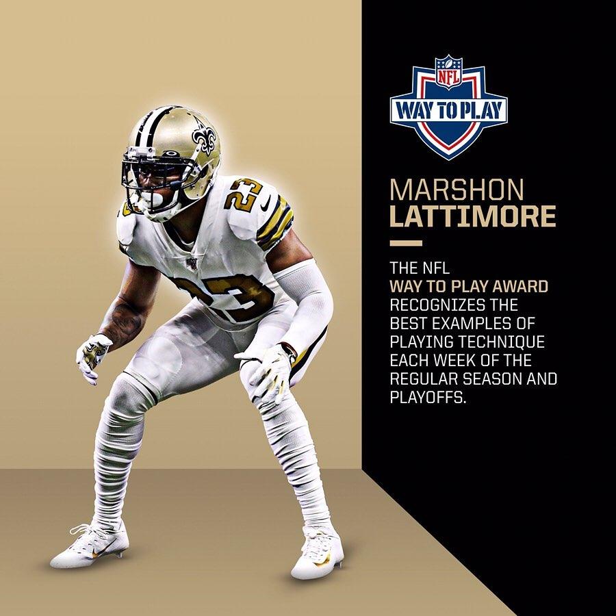 CB Marshon Lattimore is the  Award winner for Week 10!  ...