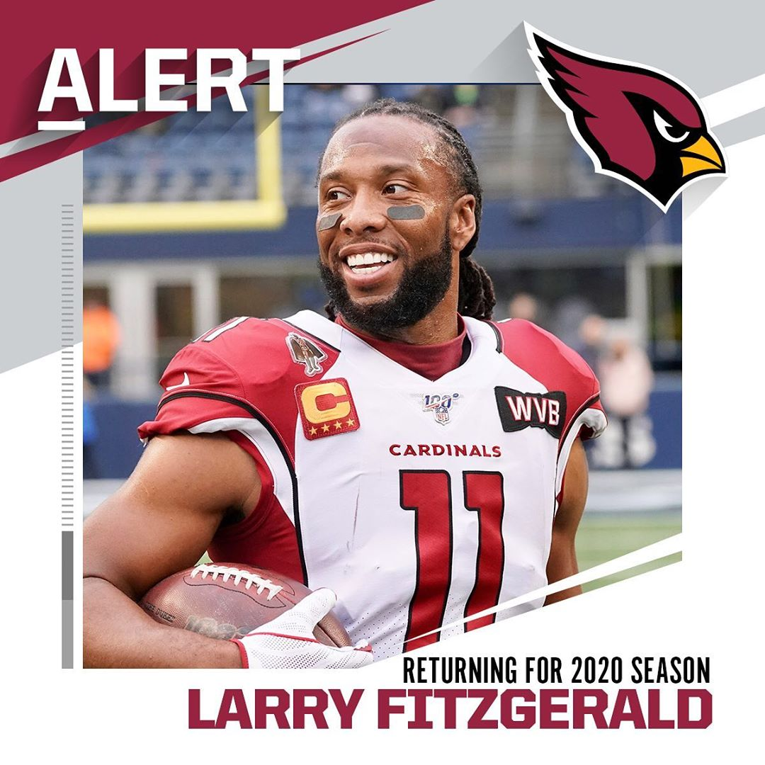 Larry Fitzgerald will return for 2020 season, signs a one-year deal with Cardina...