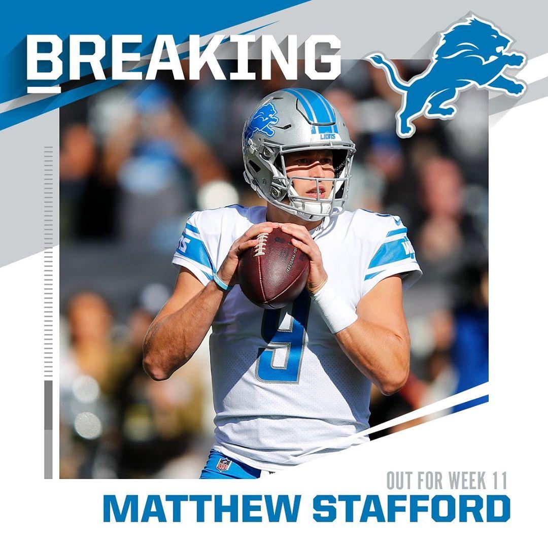 Lions QB Matthew Stafford ruled out (back) for Week 11 vs. Cowboys. - : John Hef...