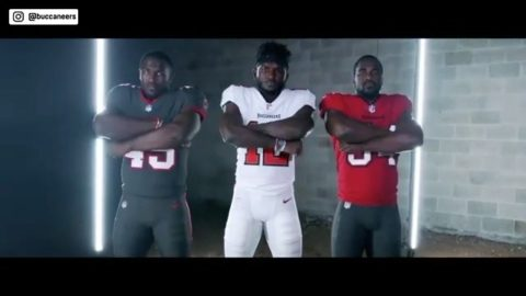 The Buccaneers unveil their new uniforms.  (via ...