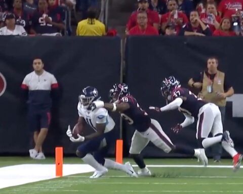 The most improbable completion of 2019? This  pass to   on the sideline (6.2%) ...