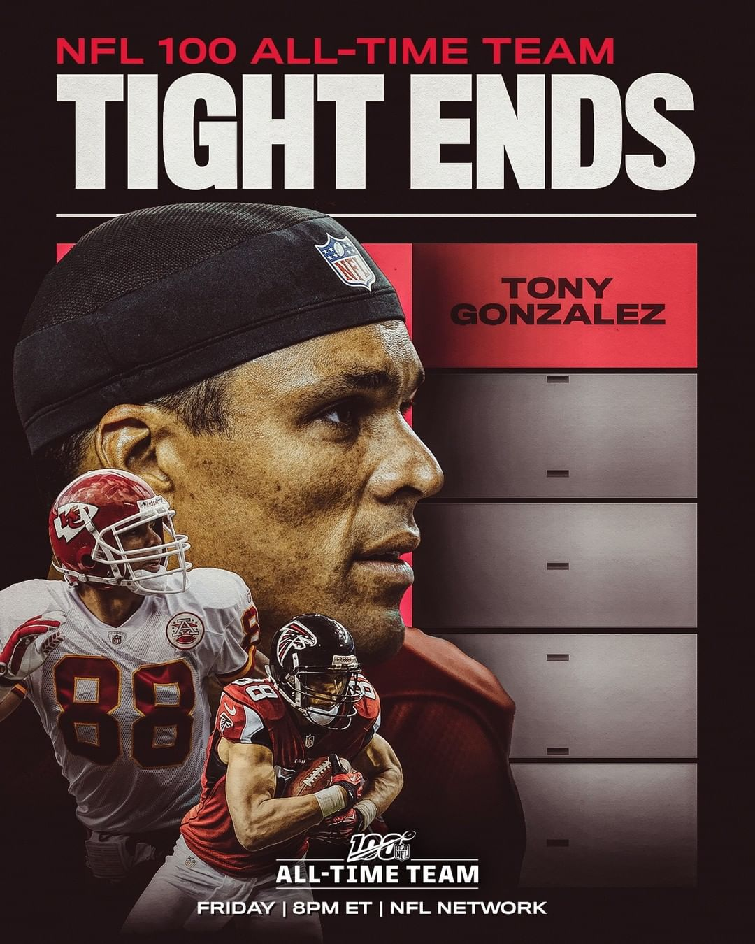 Tony Gonzalez has been selected to the  All-TIme Team. Four more TEs will join h...